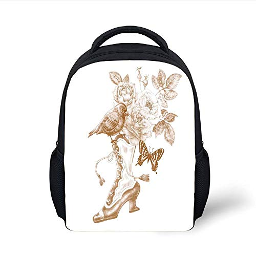 Kids School Backpack Victorian Decor,Nostalgic Boots with Roses Butterfly and Bird British Trend Upper Class Shoe Art Work,Brown White Plain Bookbag Travel Daypack Lightweight Boot Top