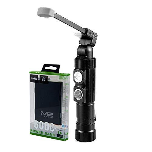2 LED starke Werkstattlampe Taschenlampe Magnetfuß inkl.6000 mAh USB PowerAkku Werkstattlampe Arbeitsleuchte, Das Gehäuse ist Spritzwassergeschützt, die Taschenlampe kann direkt per USB geladen werden