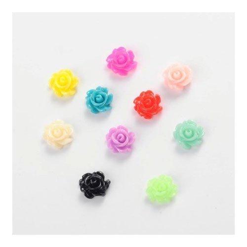 Paket 30 x Gemischt Harz 3 x 7mm Blume Cabochon - (Y02890) - Charming Beads