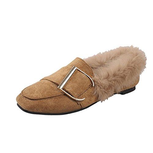 ESAILQ Mode Boucle d'hiver Ceinture Femmes Chaudes Flats Doux Pois Décontractée Chaussures Plates