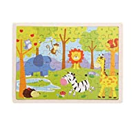 HoSelling 60 Pieces Wooden Puzzles Kids Educational Toys DIY Wooden Jigsaw Puzzle For Children Adults Baby Children's Building
