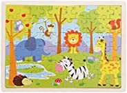 HoSelling 60 Pieces Wooden Puzzles Kids Educational Toys DIY Wooden Jigsaw Puzzle For Children Adults Baby Chi