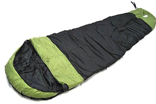 mount1600 Mumienschlafsack Schlafsack -13,5 °C mit Wärmekragen, Doku-Tasche etc. schwarz grün, mit Kompaß -