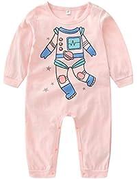 Body de dibujos animados de manga larga de mameluco de bebé de algodón Homewear de otoño para niña de niño