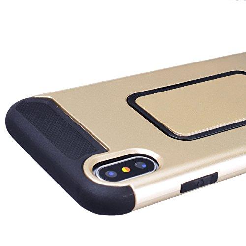 WE LOVE CASE iPhone X Hülle 2 in 1 iPhone X / 10 Hülle Hardcase Gold Handyhülle Tasche für Mädchen Elegant Backcover , Harte Case Handycover Stoßfest Bumper , Ultra Dünn Schale Schlank Schutzhülle Fal Gold 2