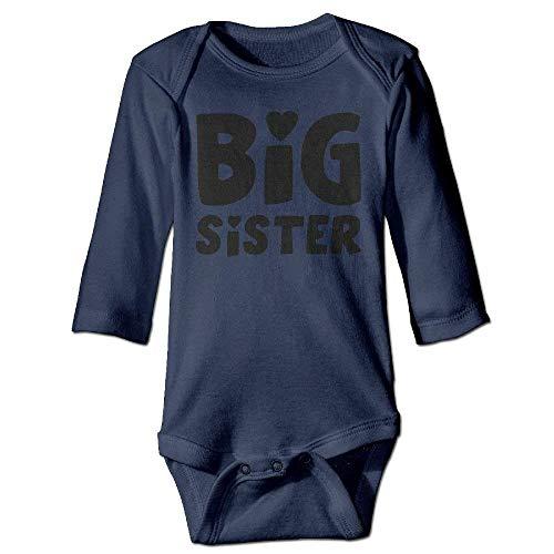 VTXWL Unisex Newborn Bodysuits Big Sister Boys Babysuit Long Sleeve Jumpsuit Sunsuit Outfit Navy