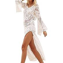 Qiao Nai TM Mujer Vestido de Playa de Encaje Crochet Sexy Hueco Verano Cover Up