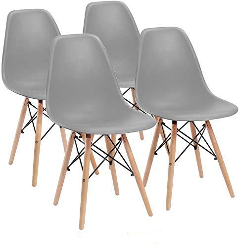 Naturelifestore 4er Set Esszimmerstühle/Lounge-Stühle im Modernen Design, Sitz aus Polypropylen und Beine aus Buchenholz (Grau)