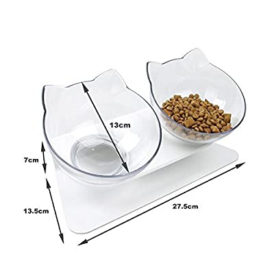 DamnCat Double Cat Bowl With Raised Stand Pet Food Bowl Perfect for Cats and Small Dogs from DamnCat