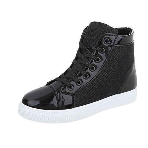 Ital-Design Scarpe da Donna Sneaker Piatto Sneakers High nero D02