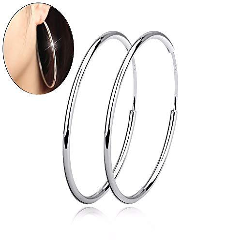 5 Sterling Silber Einfache Poliert Großen Runden Kreis Ohrringe,60Mm ()