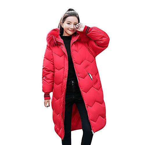 Damen Winterjacke Wintermantel Lange Jacke Outwear MYMYG Frau Button Coat Lange Baumwolle gefütterte Jacken Pocket Fur Hooded Coats(Rot,EU:42/CN-2XL)
