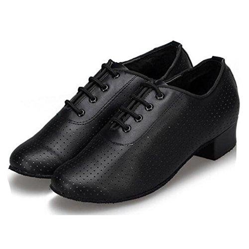 W & Lm Mlle Véritable Cuir Bouton Doux Chaussures De Danse Latine Chaussures De Danse Moderne Chaussures D'amitié Professeur Noir