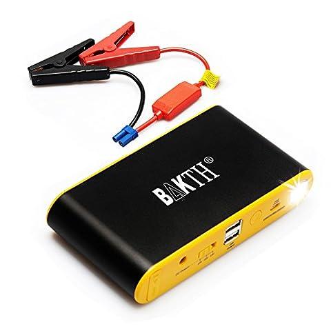 Bakth Auto EPS Mini Portable 12900mAh multi-fonction Jump Starter de voiture avec 400A courant de crête d'urgence Start Power Bank Chargeur de batterie externe avec lampe de poche LED pour auto Start téléphone portable tablette iPad appareils photo numériques caméscope et bien plus encore