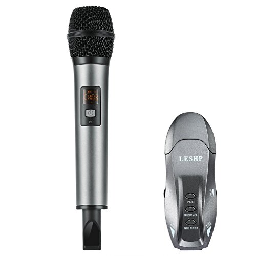 LESHP K18V Micrófono inalámbrico de Condensador profesional + Receptor Bluetooth 10 canales UHF para grabación de radiodifusión profesional, conferencia, reunión, karaoke, podcast, compatible con PC, TV, TV BOX, smartphone, tableta, portátil