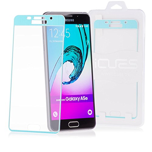 iCues Schutzhülle für Samsung Galaxy A5 (Modell 2016) | Piri Alu Panzerglas Türkis | CNC Aluminium Metall Metallic Full Screen Schutz Panzerglasfolie Tempered Glass Glasfolie Display Glas Protector Glasschutzfolie Panzer Folie Schutzfolie Hülle Cover Schutz