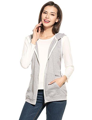 Parabler Damen Weste Ärmellos Jacke mit Kapuze Taschen Reverskragen Freizeit Sport Hoodie Dunkelgrau Dunkelgrau EU 38(Herstellergröße:M)