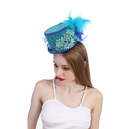 DIMDIM mychome Schmetterling Hat Kentucky Derby Pink Hat Mini Top Hat Royal Blau Butterfly Hat Royal Ascot Pferd Race Hat Blau Tea Party Hat, Blau, 25-30cm
