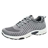 Men Solid Lace up Sneakers, Male Mesg Breathable Walking Sport Shoes Flats Casual Shoes