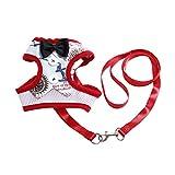 Hawkimin Haustier Hundeweste Brustgurt Abendkleid Set Bogenknoten Drucken Weiches Atmungsaktives Haustierseil Brustgurt Zugseil