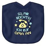 Kinder Shirt/Enkel/Enkelin/So Mir reicht´s ich ruf Oma an/Oma Wird Augen Machen - Baby Lätzchen -Einheitsgröße-Marine-blau
