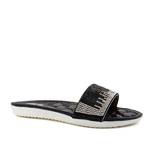 Damen hinten offen, schwarz - schwarz - Größe: 39 London Footwear
