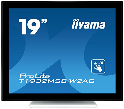 iiyama ProLite T1932MSC-W2AG 48cm (19 Zoll) IPS LED-Monitor SXGA 10 Punkt Multitouch kapazitiv (VGA, DVI, USB für Touch, IP54, AntiGlare Beschichtung) weiß