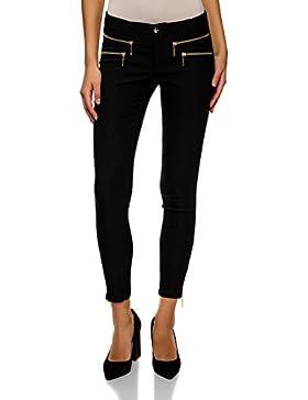 oodji Ultra Mujer Pantalones Estrechos con Cremalleras Decorativas