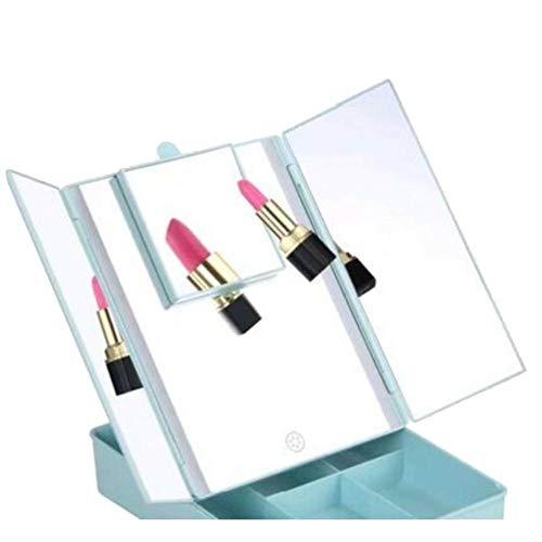 RATWIFE LED Make-up Spiegel Lagerung Make-up Spiegel Platz DREI-Seite klappbare LED Kosmetikspiegel...