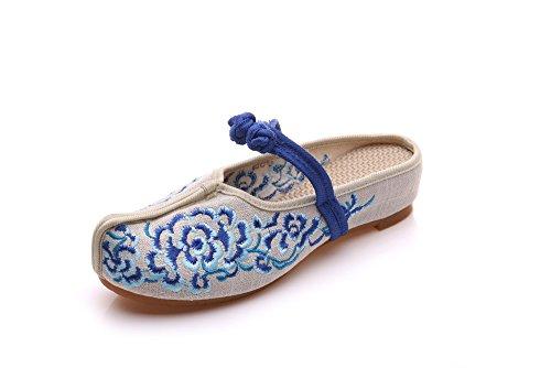 DESY scarpe ricamate, unico tendine, stile etnico, femminile caduta di vibrazione, modo, comodo, sandali Blue