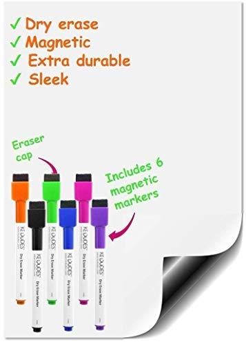 Premium Magnettafel-Blatt A3 + (43,18 cm x 27,94 cm) trocken abwischbar Inklusive KOSTENLOSES Set 6-magnetische Whiteboard Marker mit Radierer zum löschen in verschiedenen Farben