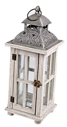 dekojohnson Orientalische Laterne Deko-Laterne Holz-Laterne Vintage Antik Weiß Rustikal Retro Lampe Metalldach 17x44cm - Antik-weiß, Rustikales Holz