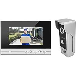 """Timbre para Puerta,Bigwinner Timbre Video Portero Intercomunicador y 7"""" color verdadero TFT - pantalla de visualización LCD, Renunciar al espejo de la puerta"""