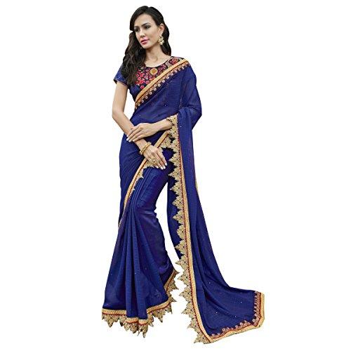 Triveni Chiffon Blue Festival Wear Border Worked Traditional Sarees