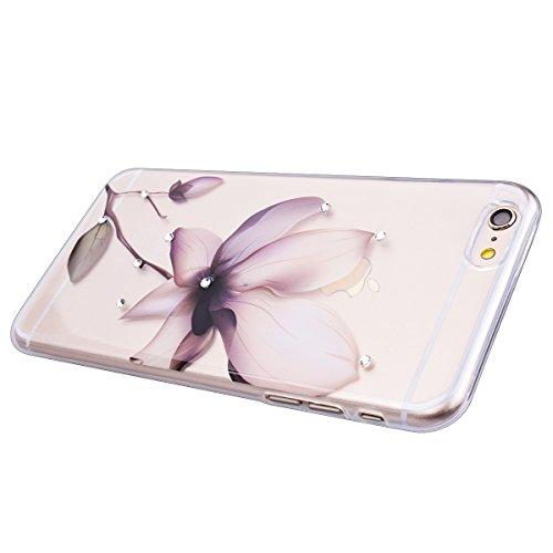 """WE LOVE CASE iPhone 6 / 6s 4,7"""" Hülle Weich Silikon iPhone 6 6s 4,7"""" Schutzhülle Handyhülle Im Durchsichtig Transparent Crystal Clear Diamant Glitzer Funkeln Löwenzahn Paar Muster Handytasche Cover Ca Magnolien Blume"""