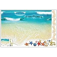 Hermosa playa Papel tapiz en 3D para la habitación de los niños Dormitorio Sala de estar Decoración de jardín de infancia Etiqueta de pared de PVC XL8300 - Colorido