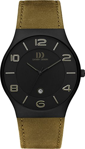 Danish Design Men's Quartz Watch with Black Dial Analogue Display and Green Leather Strap DZ120429