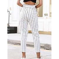 YFLTZ Pantalones Chinos para Mujer Active - Rayado, Blanco, L