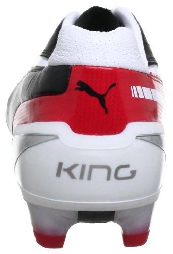 Puma King Fg Mens Scarpe Da Calcio Nere (nero-bianco-nastro Rosso 02)