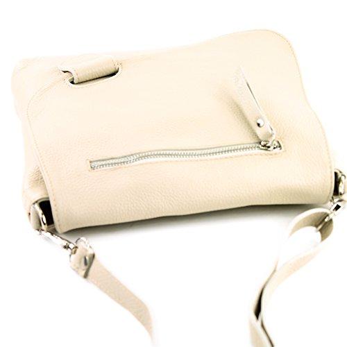 modamoda de -. cuoio ital Borsa da donna Messenger bag borsa a tracolla in pelle borsa NT07 2in1 Creme