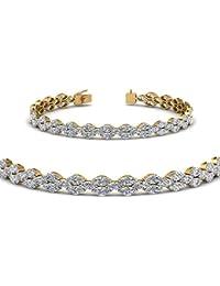 Silvernshine Jewels - Pulsera de Tenis de Diamante de imitación de Corte Redondo DE 6,7 CT, Oro Blanco de 14 Quilates, Plata de Ley 925