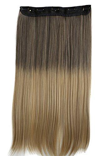 PRETTYSHOP XXL 5 Clips ein Teresse ganzen Kopf Clip In Extensions Haarverlängerung glatt 60cm Ombré braun blond #8T25 C75