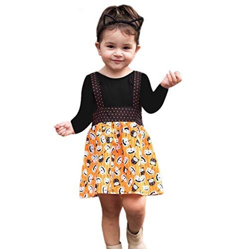 (Neugeborenes Baby Casual Reine Farbe Overall Rosennie Kürbis Printed Halloween Kostüme Kleidung Stellt Ein Mode Blumenkleider Langram Bluse Tops Outfits Set Playsuit für Baby Mädchen(Schwarz))