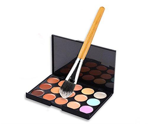 Gracelaza 1 Pcs Pinceaux Maquillage Trousse, 15 Couleurs Palette de Maquillage Correcteur Camouflage Crème Cosmétique Set