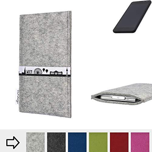 flat.design für Shift Shift5.3 Schutz Tasche Handyhülle Skyline mit Webband Wien - Maßanfertigung der Schutz Hülle Handytasche aus 100% Wollfilz (hellgrau) für Shift Shift5.3