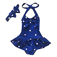 Axong Baby Girls 1PC Sleeveless Polka Dot Heart with Bowknot Headband Beach Swimwear 1-4 Years Red