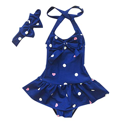 anzüge, Kleinkind Baby Mädchen Badebekleidung Ärmellose Circle Dot Drucken Bademode mit Bowknot Stirnband Strand Sommer,Süß und Liebenswert,für 6 Monate-4 Jahre Mädchen ()