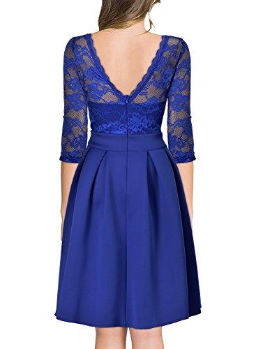 Miusol Damen Elegant Cocktailkleid Spitzen 3/4 Arm Vintage Kleid Brautjungfer 50er Jahr Abendkleid Hellblau Gr.XL -