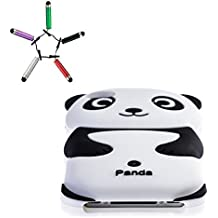 Demarkt Coque Panda Etui Housse pour iPhone 4 4S Case Cover Panda+3 Stylo Mini Screen Pen Blanc