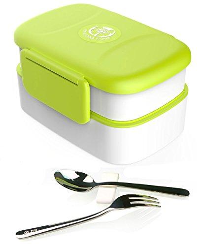 Lunch box bento. nuovo design versatile. singolo o doppio strato ciascuno con il proprio divisore. forchetta e cucchiaio in acciaio inossidabile sotto il coperchio a scatto. a prova di perdita. lavastoviglie / microonde / congelatore sicuro. qualità premium.